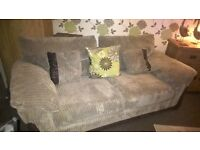 3 seater sofa , leather and elephant cord in brown. 18 months old in excellent condition