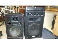 Speakers & Amp Set (1 Soundlab, 1 Intimidation, 1 IMG Stage Line Amp)