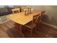 Elegant Extending Dining Table & 4 Cross Back Chairs FREE DELIVERY (02870)