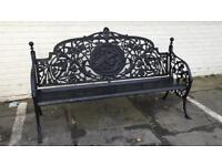 MATCHING PAIR of large solid cast iron benches