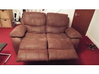 2 seater settee seude reclines