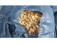 Bags of golden gravel
