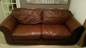 2 and 3 seater brown sofa settee