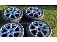 Vauxhall Corsa 17 inch Wolfrace alloy wheels painted with light purple metal flake 215/40/17