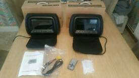 2 x leather 7inch headrest monitors *brand new*