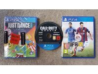 PS4 GAMES FIFA15, CALL OF DUTY GHOSTS AND JUST DANCE 2015 (SEALED)