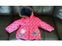 Pink padded Peppa Pig coat size 2-3 years