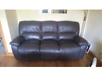 Chocolate brown leather three seat sofa with reclining ends