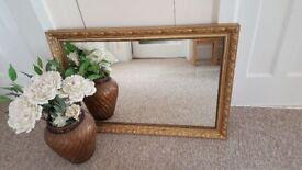 Ornate gold coloured rectangle mirror (87 x 62 cm)