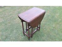 Vintage Small Gate-leg Drop Leaf Table with Barley Twist legs