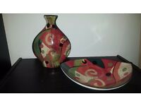 Decorative print vase and bowl