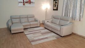 Cressida grey leather electric recliner chaise sofa and electric 3 seater sofa