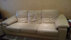 Cream Leather sofa and 2 chairs. Orginally from DFS cost over £2000.00, Selling for £100.00