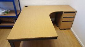 Robust corner desk and plinth
