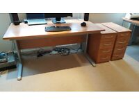 Home office furniture, 2 desks, cupboard, 2 drawers & 2 filing cabinets