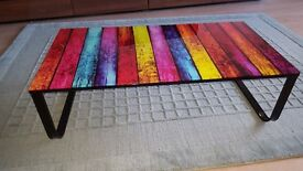 STUNNING MULTI-COLOURED GLASS TOPPED COFFEE TABLE