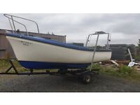 16 ft oyster open boat with mariner engine