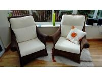 2 large cane armchairs