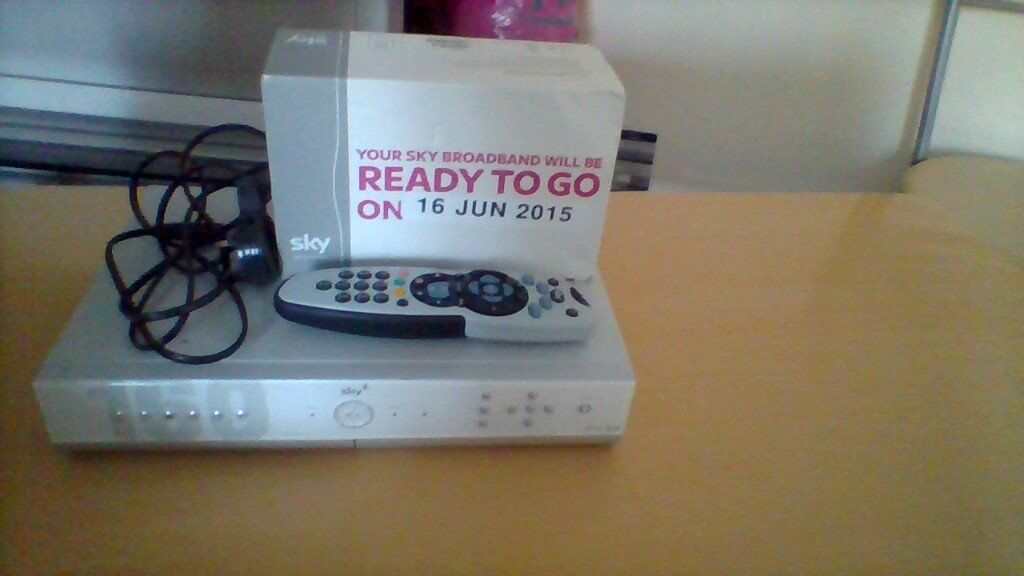 Sky box plus and sky dish with new sky broadband.