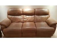 Gillies 100% leather suite. 3 seater recliner, 2 x single recliners