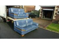 3+2 seater sofa in blue leather with oak wood trim