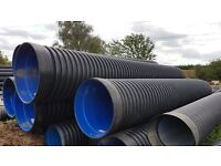 Twinwall unperforated drainage 900mm x 6m pipe with integrated coupler