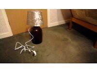 Brown glass demijohn table lamp beige shade bulb holder bulb