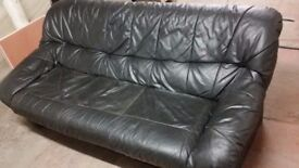 Black 3 seat leather sofa