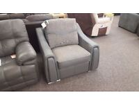 BRAND NEW From ScS SISI ITALIA VICTOR ARMCHAIR GREY LEATHER & FABRIC Can/Del Hucknall Nottingham