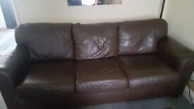 Two Piece Leather Sofa Set (Dark Brown)