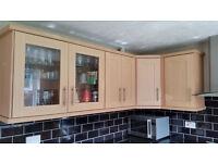 Kitchen - Cupboards, Cooker, Extractor Fan, Ceramic Sink & tap, Granite worktops, steel sink & tap