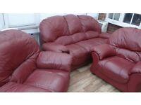 maroon leather 3 piece suite
