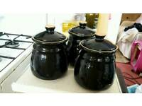 Tea sugar and coffee pottery containers in dark blue