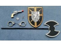 Kids Toys, Axe, Shield, Toy Gun, Hand Cuffs with Keys & Sheriff Badge, Contact me asap, All for £1