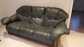 **FREE SOFA** green leather sofa free to collect