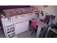 Midsleeper, incl desk, drawers and book case, no matress, from pet/smoke free home