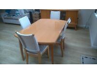 Fantastic matching beech wood dining table, 4 chairs and sideboard for sale