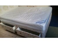 Double 4 drawer divan bed, mattress and headboard