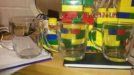 Set of 3 Clear Glass Cups