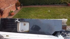 Black granite kitchen top mint condition with sink - £150 or nearest offer.