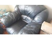 3 piece leather Suite , well used black/very dark blue ..