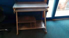 PC Work Stations (Metal PC Trolley Silver & Computer Desk