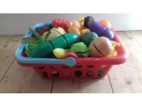 ELC and Sainsbury's play food in shopping basket - fruit and veg