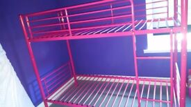 Pink bunk metal bed for girls