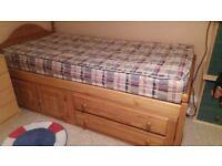 Single pine cabin bed