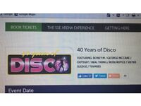 3 Tickets for Forty Years of Disco at Wembley Arean on Friday 16 March. see pic for line up