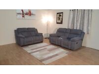 Ex-display Kennedy grey fabric manual recliner 2 seater sofa and standard 2 seater sofa