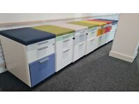 200 office contrast white/coloured gloss 3 under desk drawers/pedestals with removable seat pad