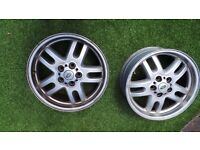 """Pair of Land Rover / Range Rover 18"""" Alloy Rims With Hub Centers 5 Spoke"""