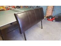 King size brown leather headboard